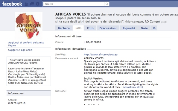 AFRICAN VOICES. Appuntamento on-line su Facebook il 10 dicembre.